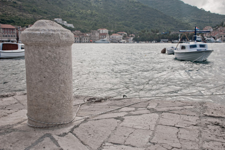 mooring: Photo of mooring post in harbour on Vis Island