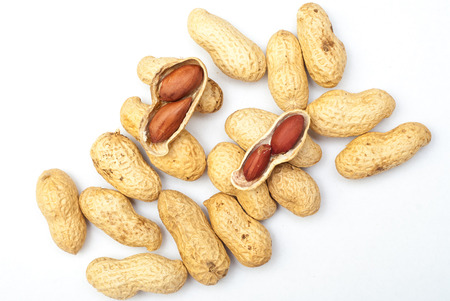 Photo of peanuts on white with soft shadow. Zdjęcie Seryjne - 38836280