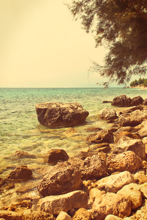 dalmatia: Photo of beautiful Adriatic Sea in Dalmatia, Croatia - vintage version