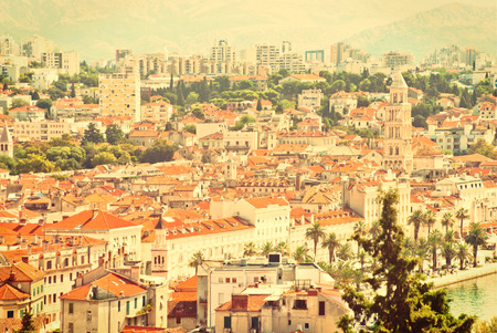 mediterranean countries: Cityscape of Split, Croatia and the Adriatic Sea - vintage version