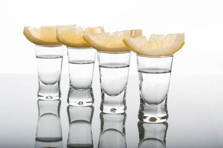 fruit of the spirit: Photo of four shots of vodka with lemon