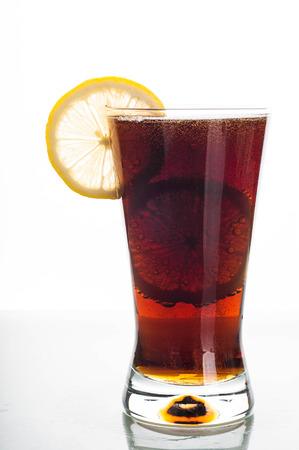 slices of lemon: Photo of cola glass with slices lemon Stock Photo