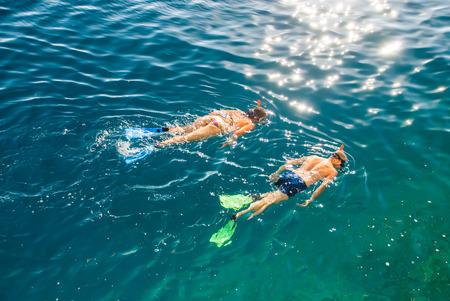Photo of two people snorkling in Adriatic Sea Zdjęcie Seryjne - 47176204