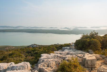 kornati national park: Photo of Vransko Lake and Kornati Islands. View from Kamenjak hill.