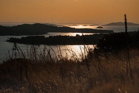 kornati: Photo of sunset over Kornati Islands, Murter, Croatia