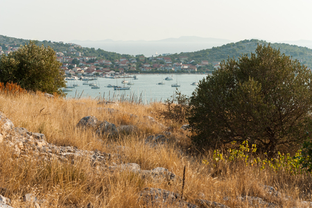 murter: Aerial view of Murter, Island Murter, Dalmatia, Croatia Stock Photo