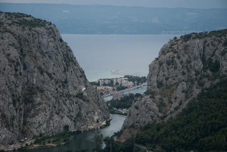 dalmatia: Photo of Omis, Dalmatia, Croatia. Cloudy sky. Stock Photo
