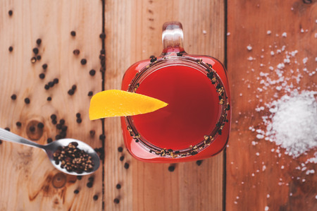 bloody mary cocktail: Photo of bloody mary cocktail on wooden table Stock Photo