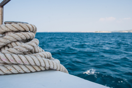 Photo of rope on the boat - detail - adriatic sea