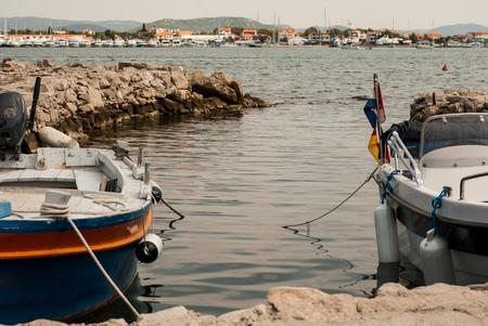 photo of Boat in marina close-up Zdjęcie Seryjne