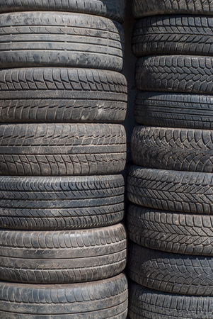 photo of stack of old tires - for sale at tire store