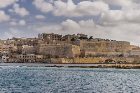 Valletta, Malta, skyline od capitol city with blue cloudy sky as background
