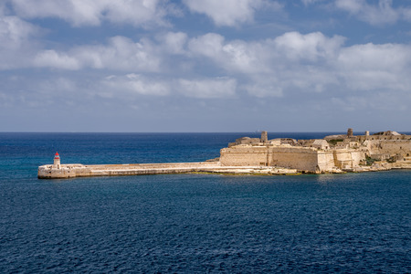 Photo of Mediterranean Sea, view from Valletta, Malta. Blue cloudy sky as background. Zdjęcie Seryjne