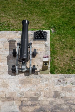 Photo of Cannons in Upper Barrakka Gardens with Cannonballs, Valletta, Malta, Europe.