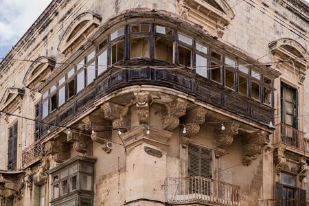 Photo of Typical maltese balcony, street of Valletta, Malta Zdjęcie Seryjne