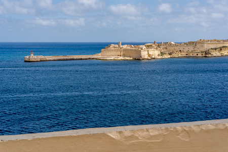 Photo of Mediterranean Sea, view from Valletta, Malta. Blue cloudy sky as background. Zdjęcie Seryjne