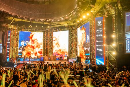 KATOWICE, POLAND - MARCH 3, 2019: Intel Extreme Masters 2019 - Electronic Sports World Cup on march 3, 2019 in Katowice, Silesia, Poland. IEM ESL Couter Strike Global Offensive final, ENCE vs ASTRALIS; esport Redakční