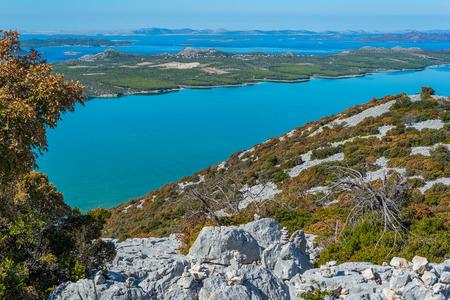 Photo of Vransko Lake and Kornati Islands. View from Kamenjak hill. Dalmatia, Croatia. Stok Fotoğraf