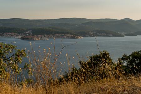 View of the Korcula town on summer sunset, Korcula island, Dalmatia, Croatia