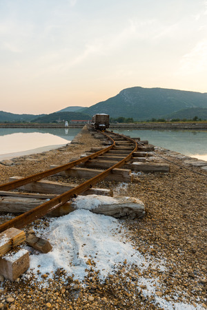 Photo of Old still working sea salt pans in Ston, Peljesac peninsula, Dalmatia, Croatia Zdjęcie Seryjne