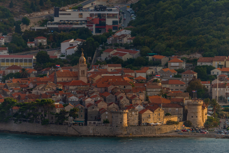View of the Korcula town on summer sunset, Korcula island, Dalmatia, Croatia