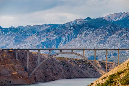Photo of Maslenica bridge, A1 Highway bridge under Velebit Mountain, Dalmatia, Croatia