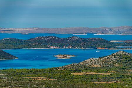 Photo of Vransko Lake and Kornati Islands. View from Kamenjak hill. Dalmatia, Croatia. Zdjęcie Seryjne