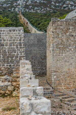 Photo of Detail of old, stone, medieval city walls in Ston, Peljesac peninsula, Dalmatia, Croatia Zdjęcie Seryjne