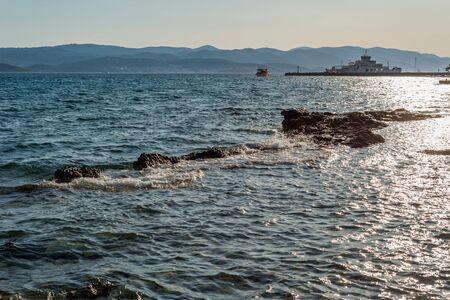 Photo of Beautiful summer seascape with ferry in Orebic, Peljesac peninsula, Dalmatia, Croatia