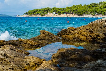 Photo of Island Murter turquoise lagoon beach, Dalmatia, Croatia Zdjęcie Seryjne