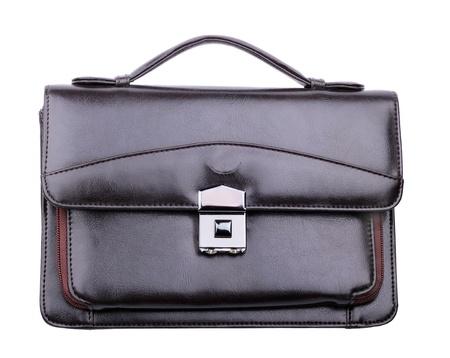 pochette: Black leather hand bag for businessmen isolated on white background