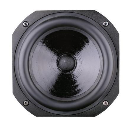 disco speaker: Black high-fidelity loudspeaker isolated on white background Stock Photo