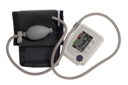 Digital blood pressure monitor isolated on white background Stock Photo - 9841146