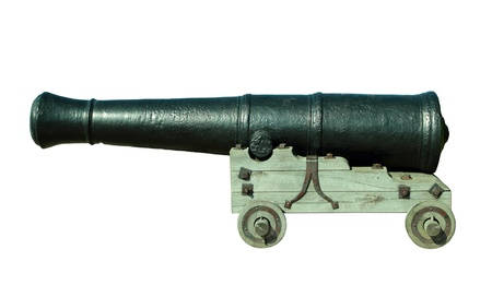 cannon gun: Old cannon isolated on white background Stock Photo