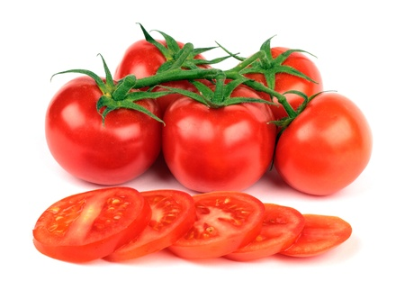 appetize: Fresh tomatoes and  tomatoes slices isolated on white background