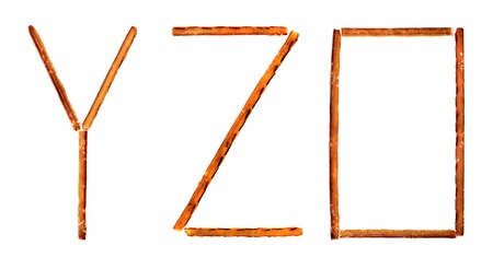 The alphabet from salty sticks isolated on white background photo