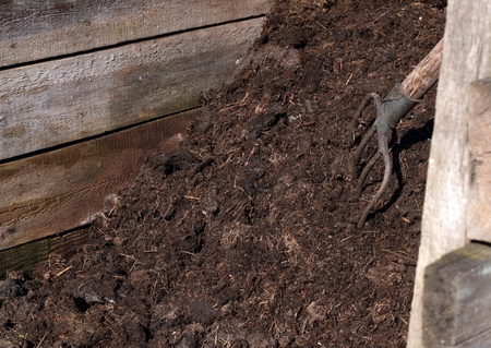 compost: Working in the garden: compost pile with a rustic pitchfork