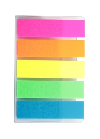 Colorful bookmarks isolated on white background photo