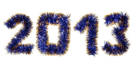 Blue gold tinsel forming 2013 year number isolated on white background photo