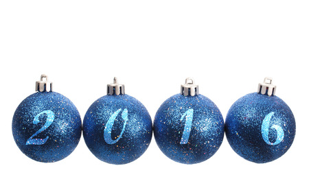 spangled: Four blue spangled christmas balls arranged in the year 2016 isolated on white background