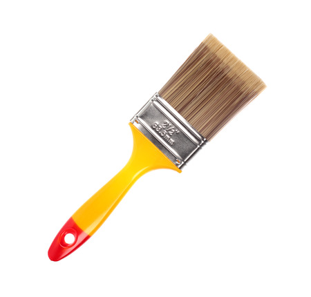 bristle: Paintbrush with synthetic bristles isolated on white background