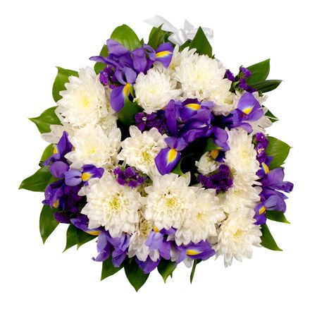 Bouquet of flowers from chrysanthemums, irises, statice and ruskus isolated on white background Фото со стока