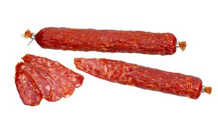 Spanish chorizo sausage isolated on white background Banque d'images