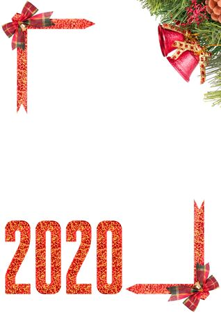 Christmas corner frame with Christmas tree branches, bows and 2020 new year number isolated on a white background