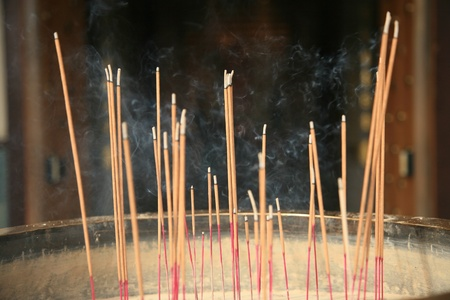 Buddhist temple incense photo
