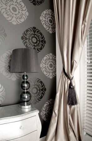 curtains: Luxurious bedroom in the style of the ancient wall background with an ornament
