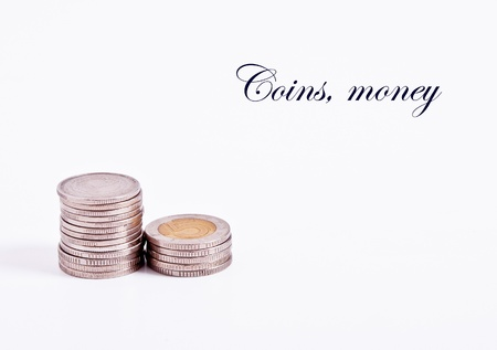 denominations: The two denominations of coins arranged in stacks Stock Photo