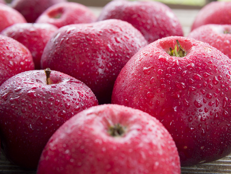 A group of dewy red apples.
