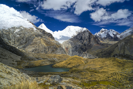 Scenic view of high mountain peaks in Peruvian Andes photo