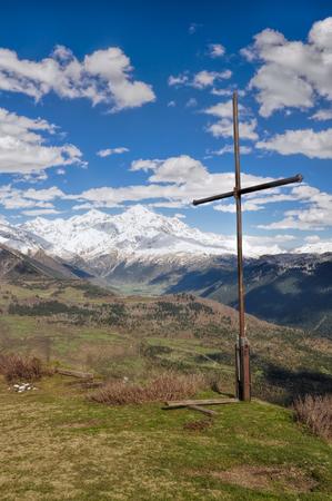 mestia: Cross over Mestia with mountains in the background, Georgia